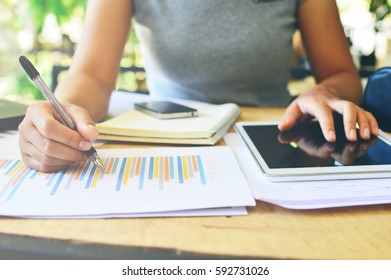 Businesswoman working with laptop.