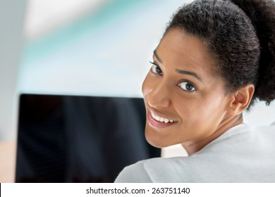 Businesswoman working with laptop in offfice