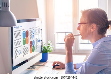 Businesswoman working on a Business Plan on computer screen to launch found raising campaign and find investors to invest in startup company