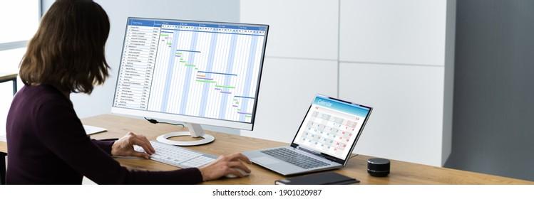 Businesswoman Working On Gantt Chart Using Computer On Office Desk