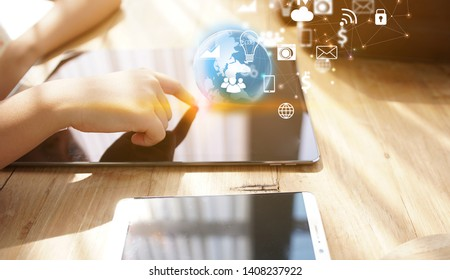 Businesswoman  working with tablet modern technology  as social media concept