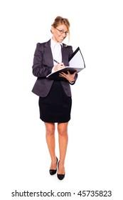 Businesswoman writing holding folder isolated on white