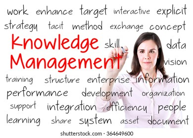 Businesswoman writing knowledge management concept. Isolated on white.