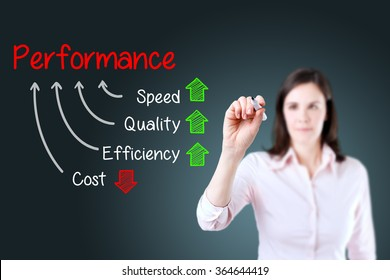 Businesswoman writing performance concept of increase quality speed efficiency and reduce cost. Blue background.