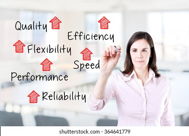 Businesswoman writing rising reliability, quality, efficiency, flexibility, performance and speed. Office background.