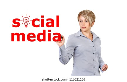 businesswoman writing social media concept