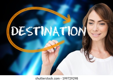 Businesswoman writing the word destination against blue arrows on black background