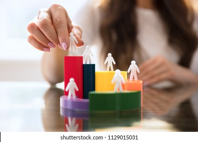 Businesswoman's Hand Placing Human Figures On Multi Colored 3d Pie Chart Over Desk
