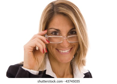 Businesswoman's portrait with glasses isolated on white