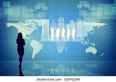 Businesswomans silhouette on abstract blue background with virtual city