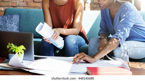 Businesswomen Architecture Blueprint Brick Studio Concept