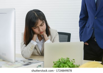 Businesswomen boring and strain because of being pressured by the boss