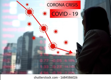 Businesswomen ceo manager is looking Capital City Building view.Red line and Number index stock down Lowest around the worldwide global effect COVID19 Corona virus disease Pandemic spread