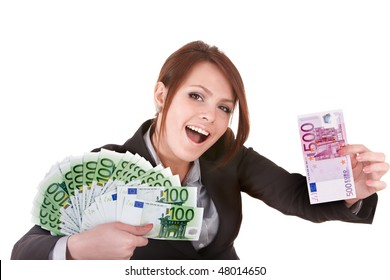 Businesswomen with group of money euro. Isolated.