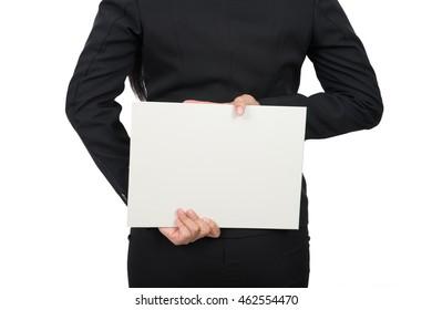 businesswomen holding a blank sign