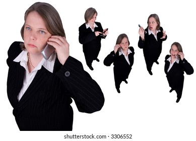Businesswomen making cell phone calls isolated over white