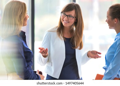 Businesswomen planning strategy during meeting against window at office