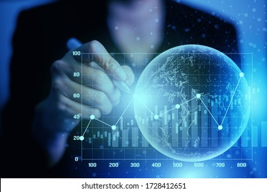 Businesswomen use a pen to write information with stock market graph data. Communication network internet wireless business concept. Signal network coverage around the world.