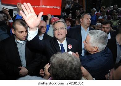 BUSKO ZDROJ, POLAND - MARCH 08, 2015: President of the Republic of Poland Bronislaw Komorowski during presidential election campaign