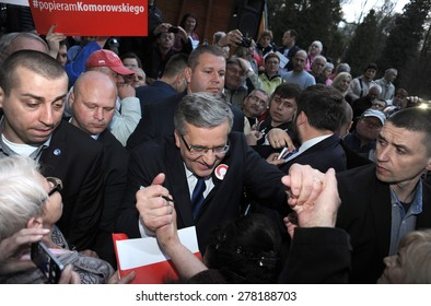 BUSKO ZDROJ, POLAND - MARCH 08, 2015: President of the Republic of Poland Bronislaw Komorowski during presidential election campaign