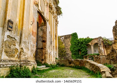 BUSSANA VECCHIA, IMPERIA, LIGURIA, ITALY - April 15, 2018: View of the remains of the baroque church of San Egidio in the village destroyed by the earthquake of 1887.