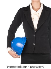 bussineaa womam holding safety helmet of construction isolated on white background
