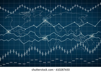 Bussines graph and bar chart. Candle stick graph chart of stock market investment trading