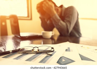 Bussiness, Depressed businessman in office, Bussiness concept, soft focus, vintage tone