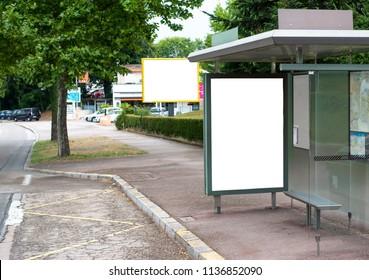 Busstop and billboard advertising design mockup