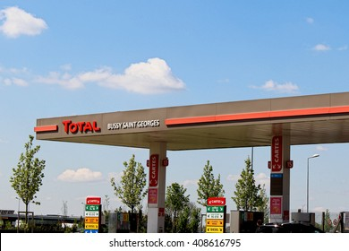 BUSSY SAINT GEORGES, FRANCE - APRIL 18, 2016: Total service station in Bussy Saint Georges, France. Total is a private French oil company.