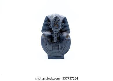 Bust in alabaster of the faraon Tutankhamon. i isolated on white background