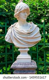 "Bust of Alexander the Great (Alexander of Macedon) in old city park ""Summer garden"" in St. Petersburg, Russia"