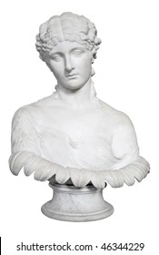 Bust of a beautiful lady isolated on white with clipping path