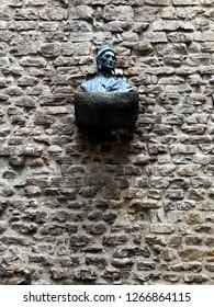 Bust of Dante Alighieri in Casa di Dante, Frorence, Italy.