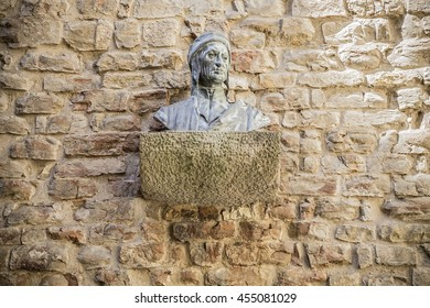 Bust of Dante Alighieri at Dante's House in Florence, Italy