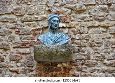 Bust of Dante Alighieri at Dante's Museum. Life & works of the great Italian poet. It's located in the heart of medieval Florence, in the place where his family lived. Florence. Italy - April 17, 2018