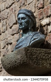 Bust of Dante Alighieri in a small square near the Dante House Museum, Florence, Tuscany, Italy  September 19th 2018