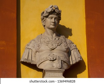 Bust of Emperor Caligula in Modena, Italy. These sculptures were made around the 1600s.