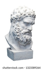 Bust of the Farnese Hercules. Heracles head sculpture, plaster copy of a marble statue isolated on white. Son of Zeus, the ancient Greek god. Ancient statue of hero