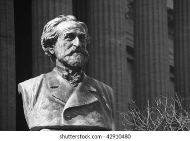 A bust of Giuseppe Verdi - famous Italian composer. It is situated in Palermo, Sicily.