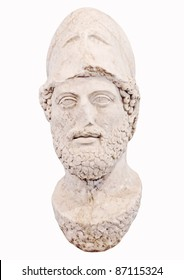 Bust of the greek statesman Pericles isolated on white New museum of Acropolis in Athens Greece