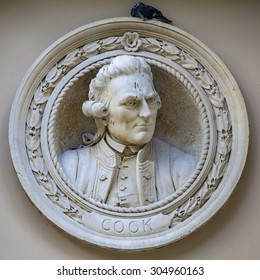 A bust of historical explorer Captain James Cook in Greenwich, London.