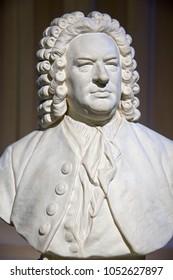 Bust of Johann Sebastian Bach (1685-1750), German baroque composer and musician.