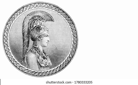 Bust of Pallas Athena daughter of Triton, in profile. Portrait from Greece 500 Drachmai 1932 Banknotes.