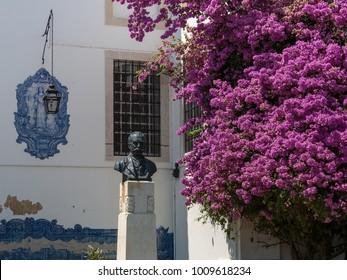 Bust of Portuguese Historian Julio de Castilho in the Miradouro de Santa Luzia Park, Alfama, Lisbon