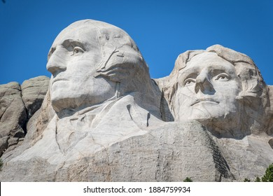 The bust of President George Washington and President Thomas Jefferson carved Borglum into the Black Hills of South Dakota at Mount Rushmore