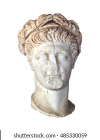 Bust of Roman Emperor Trajan (Reign 98-117 AD), isolated.