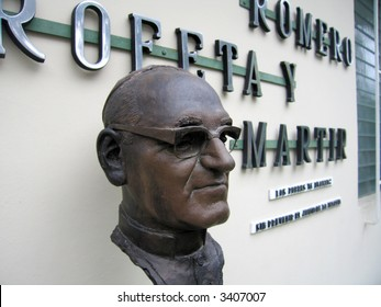 Bust of Romero outside the small museum near where he was assassinated.