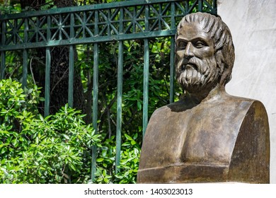 Bust of tragic poet Euripides in Athens. Greece