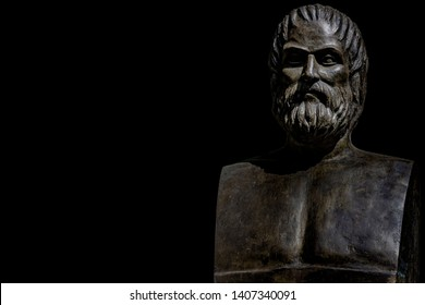 Bust of tragic poet Euripides in Athens. Greece with black background